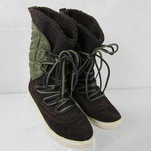 Lugz Boots Green Brown Textile Leather 6.5 EU 37